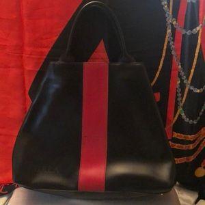 Vintage Furla black & red stripe tote handbag
